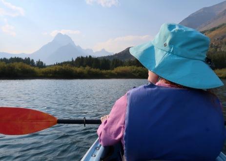 Lisa Kayaking on Swiftcurrent Lake