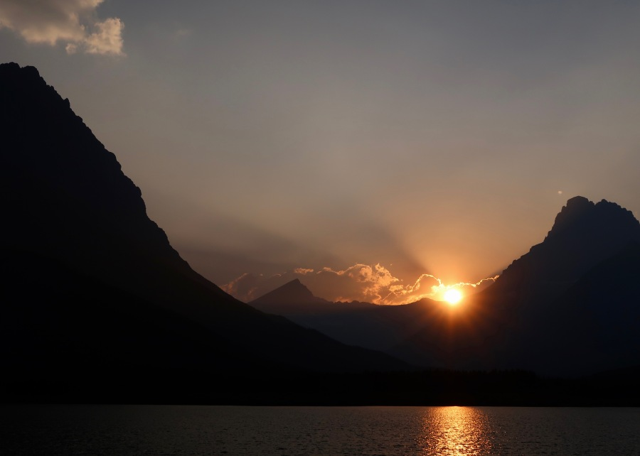 Sunset in Many Glacier Valley