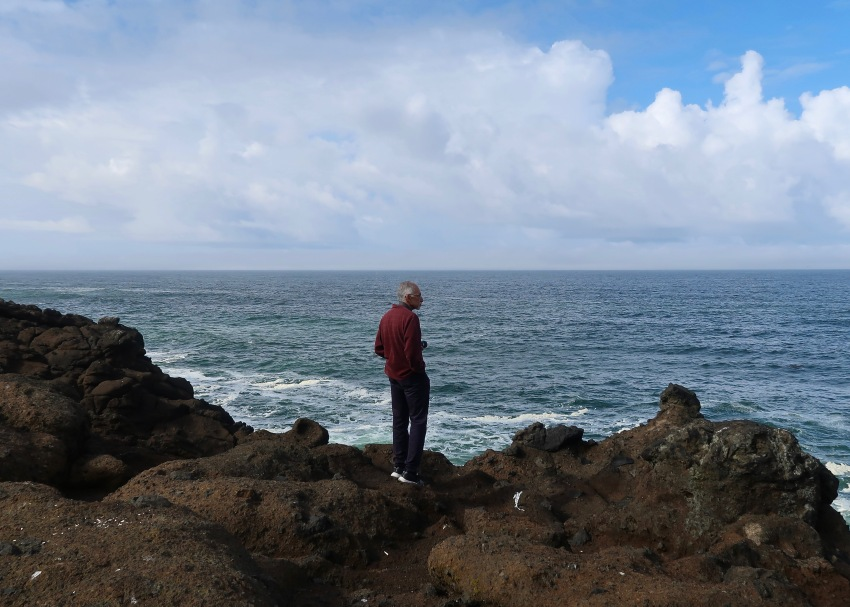 Hector Watching Whales in Depoe Bay